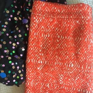 J Crew Orange Wool tweed no 2 pencil skirt sz 0P
